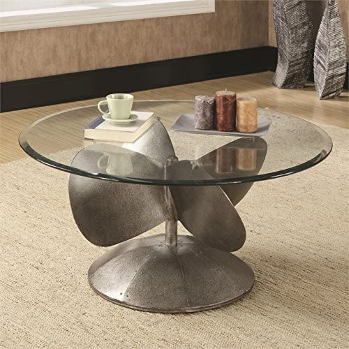 BOWERY HILL Round Glass Top Coffee Table in Silver
