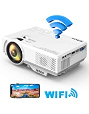 Jinhoo Mini WiFi Video Projector with 2800 Lumens, 1080P Supported 176'' Projector size, 55000 Hours Lamp Lifetime, Also Compatible with HDMI, VGA, AV, USB