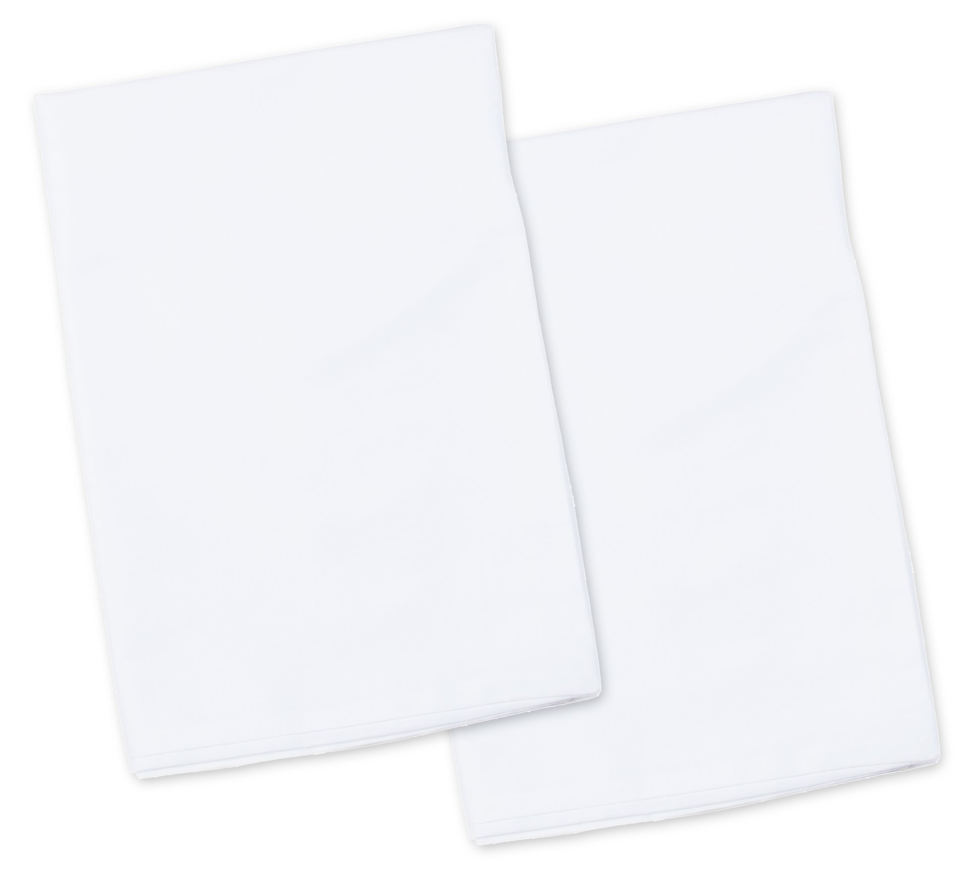 2 White Toddler Pillowcases - Envelope Style - For Pillows Sized 13x18 and 14x19 - 100% Cotton With Soft Sateen Weave - Machine Washable