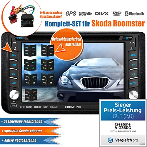 2DIN Autoradio CREATONE V-336DG für Skoda Roomster (2006 -) mit GPS Navigation (Europa), Bluetooth, Touchscreen, DVD-Player und USB/SD-Funktion