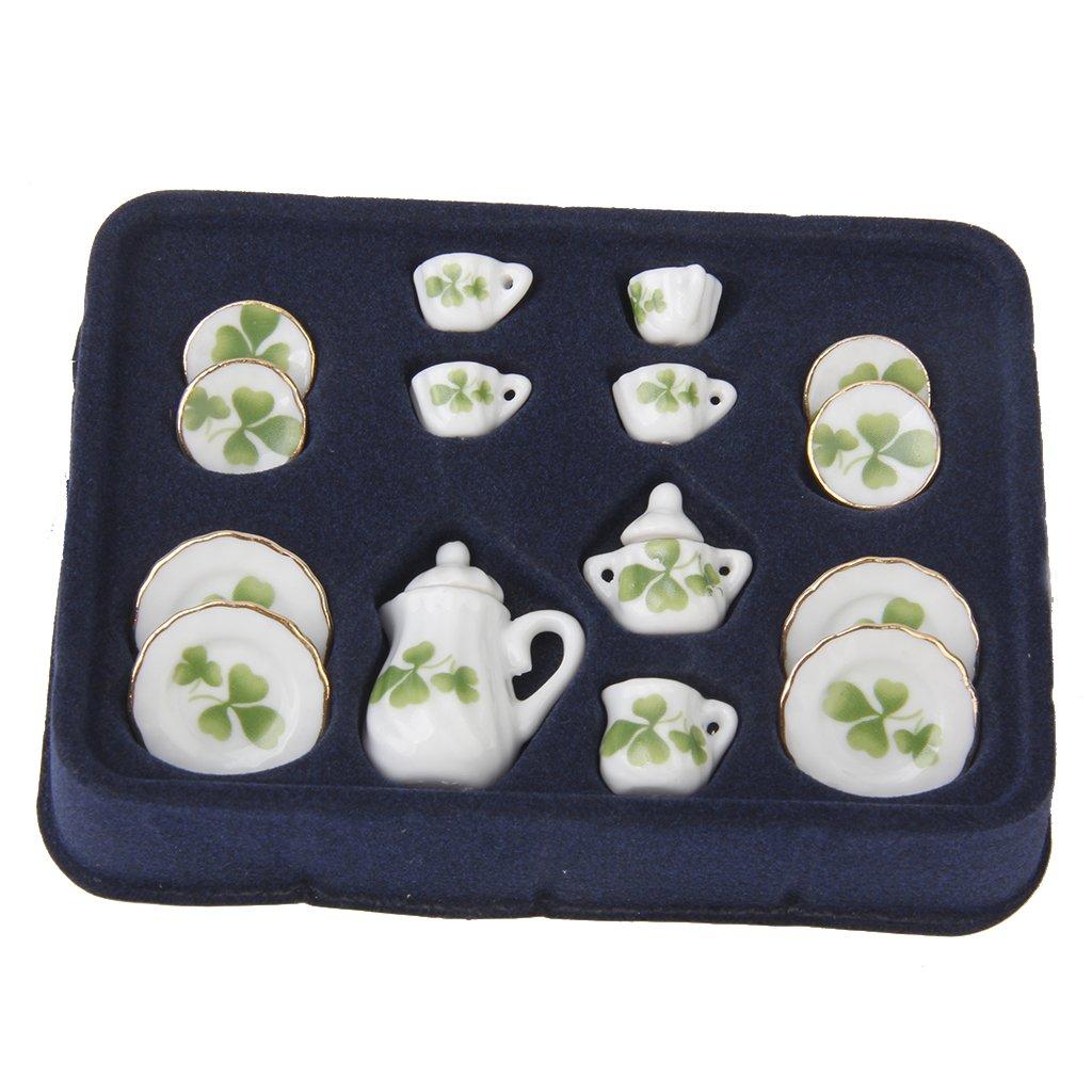 1/12 Dollhouse Miniature Dining Ware Porcelain Tea Set Pot Cup Dish Set of 15 Clover Pattern