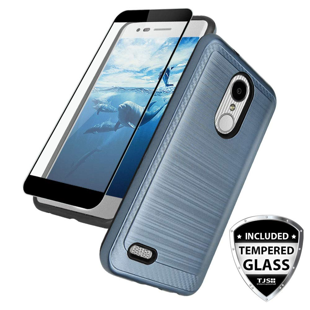 TJS Case for LG Aristo 2/Aristo 2 Plus/Aristo 3/Aristo 3 Plus/Tribute Dynasty/Tribute Empire/Fortune 2/Rebel 3 LTE [Full Coverage Tempered Glass Screen Protector] Metallic Brush Phone Cover (Blue)