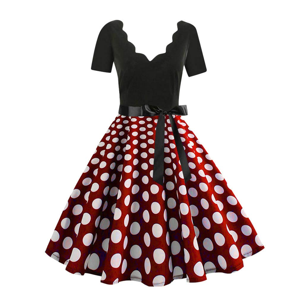 Clearance!Women Vintage Flare Dress, Lkoezi Lady Plus Size Fashion Knee Skirt Low Neck Print Dot Cocktail Party Dress (3XL, Red)