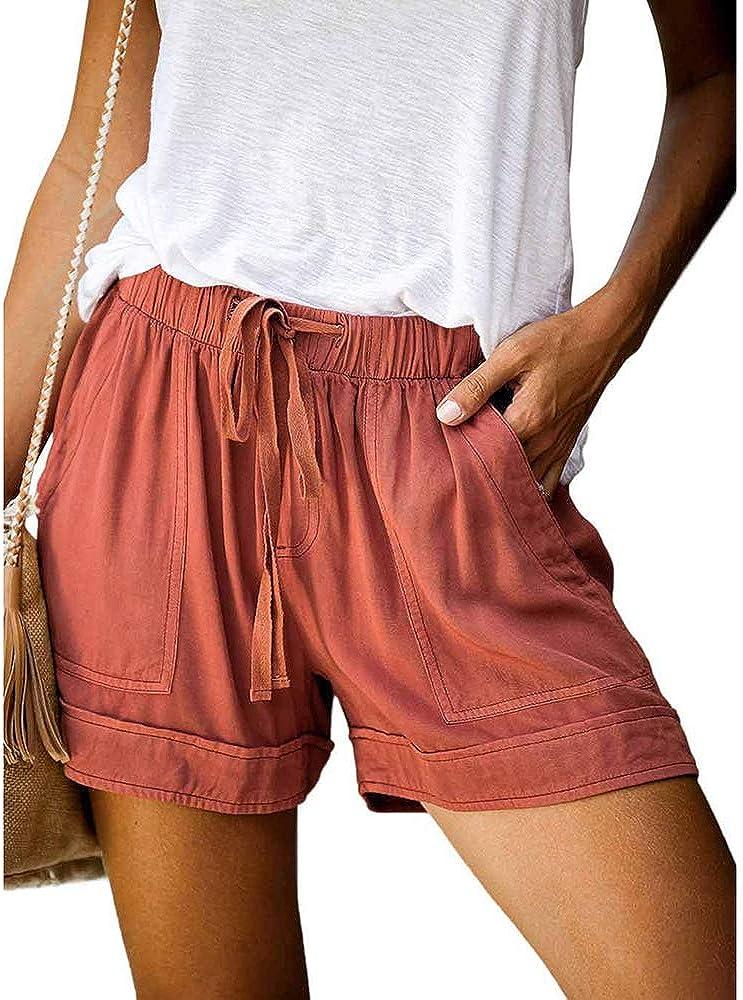 Pantaloncini da Donna Pantaloncini da Spiaggia in Cotone Solido con Elastico in Vita Casual con Coulisse