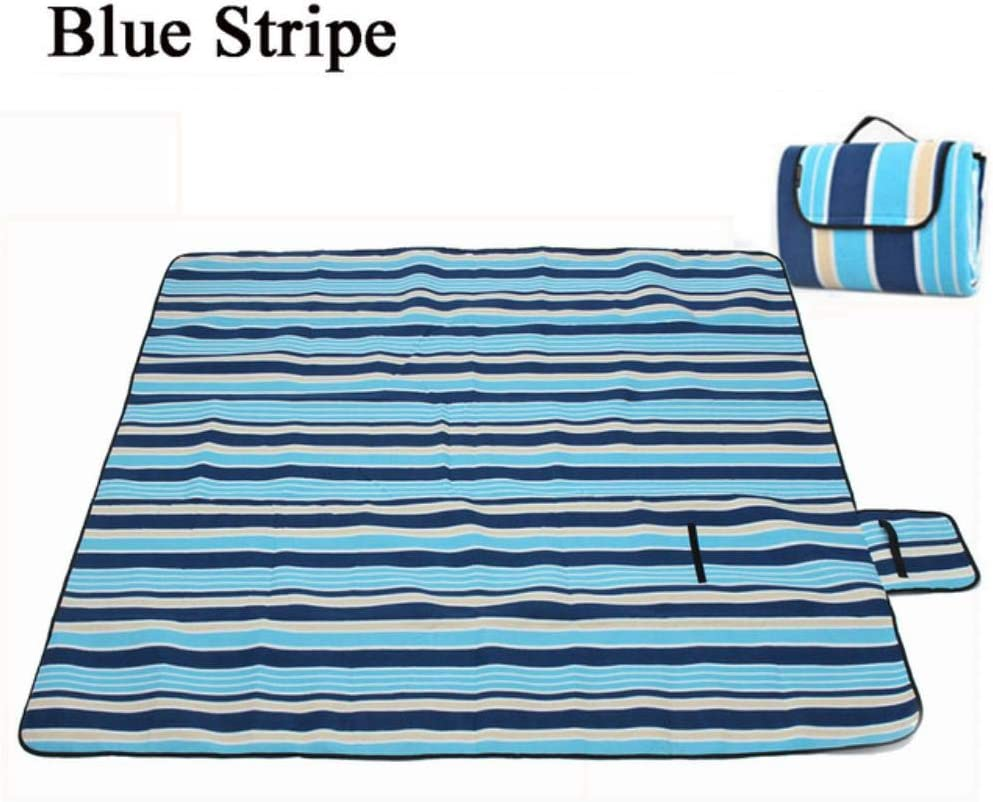 ZRR - Tappetino da picnic pieghevole, impermeabile, 200 x 200 cm Pavone blu. Strisce Rosse.