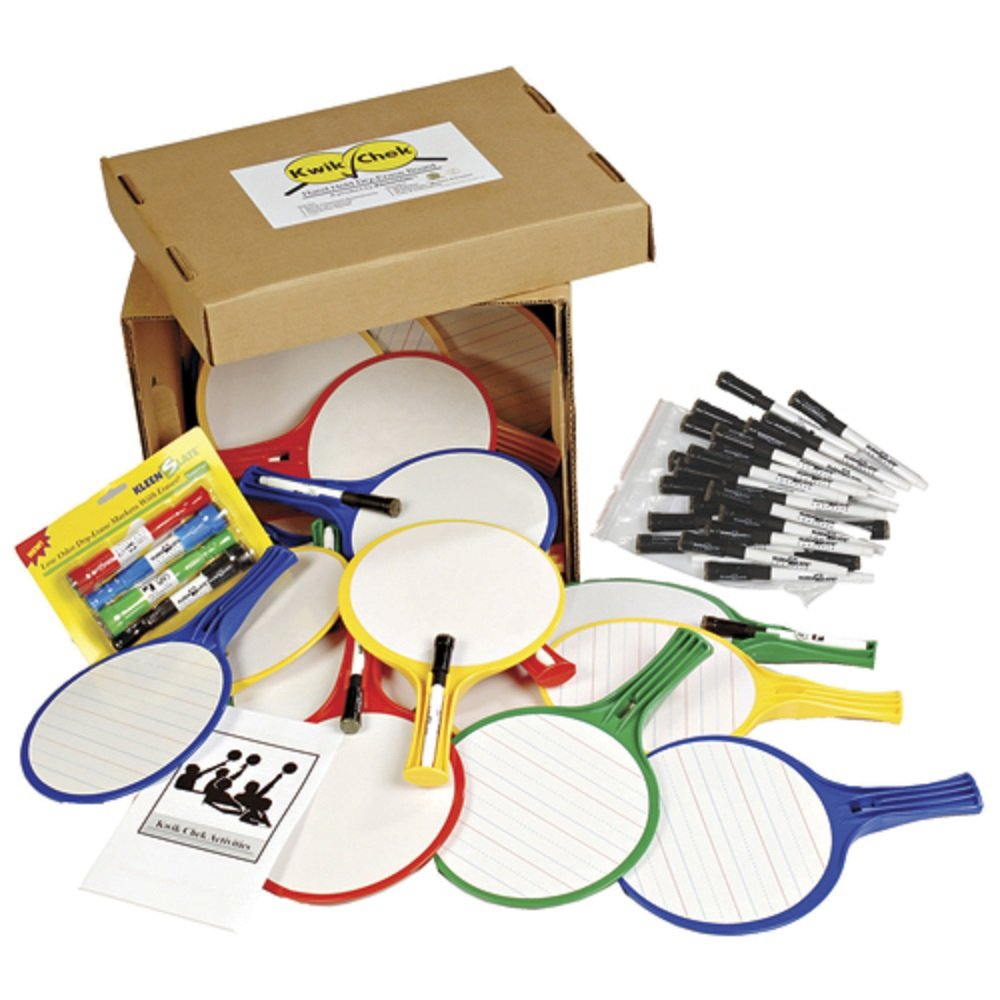 Kwik Chek II™ Hand Held Dry Erase Boards Classroom Kit, Set of 24 paddles