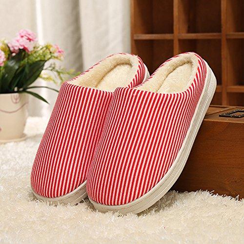 Y-Hui hogar cálido zapatillas de algodón, los amantes de invierno cálido color sólido inferior grueso algodón Inicio zapatillas,40/41 Código,Gules
