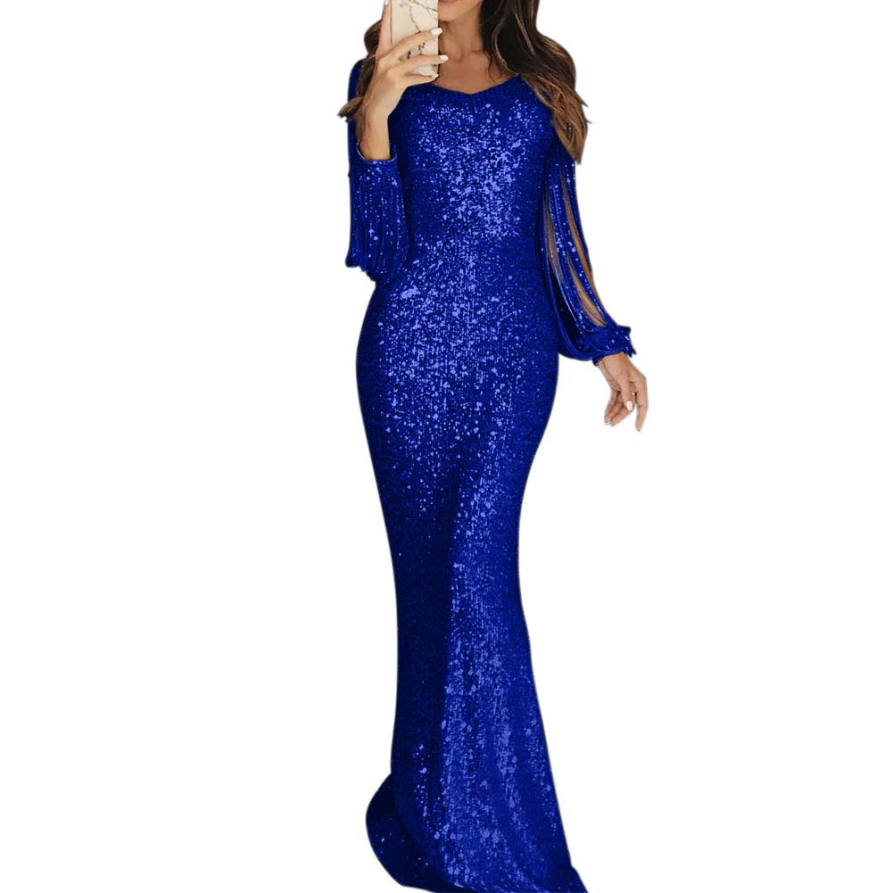 bluee Merry Sexy Gorgeous Women's Sequin Evening Dress Nude Hollow Out Long Sleeve Party Bodycon Floor Length Long Dresses
