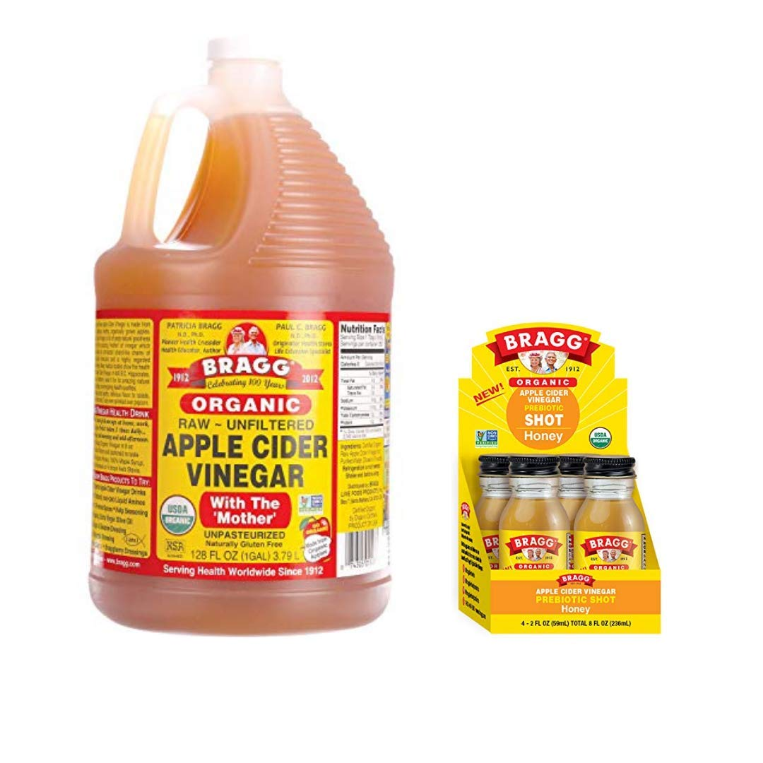 Bragg Organic Apple Cider Vinegar With the Mother 128 ounce and Bragg Organic Apple Cider Vinegar Shot with Honey 2 ounce ACV Shot Pack of 4 Bundle