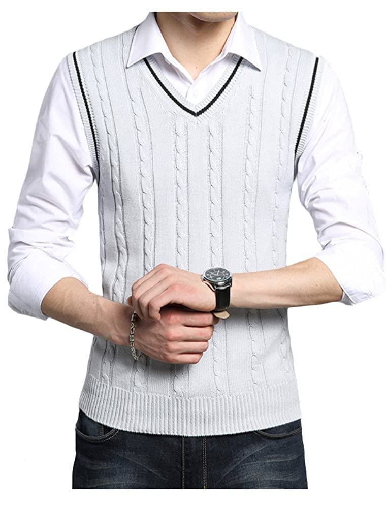 Lavnis Men's V-Neck Pullover Vest Casual Sleeveless Knitted Slim Fit Sweater Vest VGS814