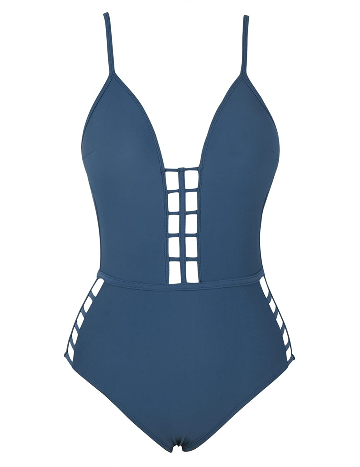 bccc7c0694ded One-piece swimwear features cut out deatails in midsection and thigh.  Plunging V-neck with fixed tab. Shelf bra, lightly padded cups, and  flexible boning ...