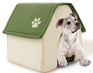 Icegrey Casa para Perros y Gatos Acolchada Plegable Caseta Cama para Mascotas 44 x 45 x 42cm Verde: Amazon.es: Hogar