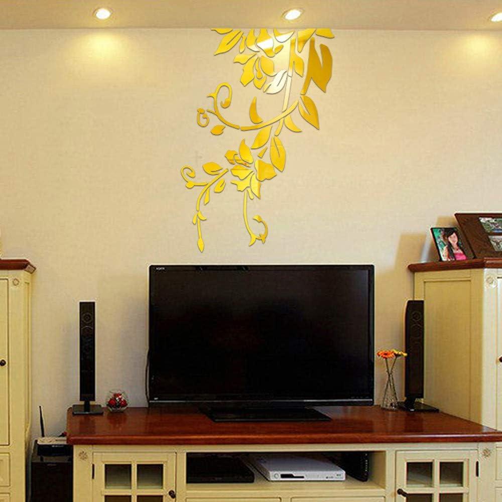 HBOS Adhesivo Decorativo para Pared con diseño de Flor de Vid en 3D, acrílico para decoración de hogar, Sala de Estar, Dormitorio, Fondo de TV, acrílico, Dorado, XX-Large: Amazon.es: Hogar