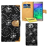 Samsung Galaxy Alpha Case, FoneExpert® Bling Luxury Diamond Leather Wallet Book Case Cover For Samsung Galaxy Alpha + Screen Protector & Cloth (Black)