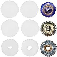 ResinWorld 6 Pack Geode Coaster Molds for Resin, Irregular Resin Coaster Silicone Mold, Coaster Epoxy Resin Molds for…