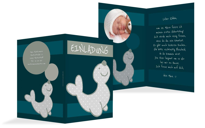 Geburtstagseinladung Foto Robbe, 10 Karten, Türkisdunkel B07KZSYFL1 | Deutschland Berlin  | Elegant  | Neuheit Spielzeug