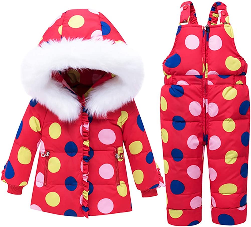 SANMIO Toddler Baby Girls Two Piece Snowsuit Cute Winter Hooded Puffer Down Jacket Coat with Ski Bib Pants