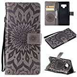 Cheap Galalxy Note 9 Wallet Case,SMYTU Premium Grey Emboss Sunflower Pattern Flip Wallet Shell PU Leather Magnetic Cover Skin with Wrist Strap Case Samsung Galalxy Note 9 (Grey)