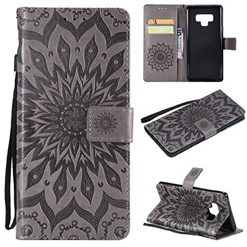Samsung Note 9 Case,Galaxy Note 9 Wallet Case,Galaxy Note 9 Flip Case PU Leather Emboss Mandala SUN Flower Folio Magnetic Kickstand Cover with Card Slots for Samsung Galaxy Note 9 Gray