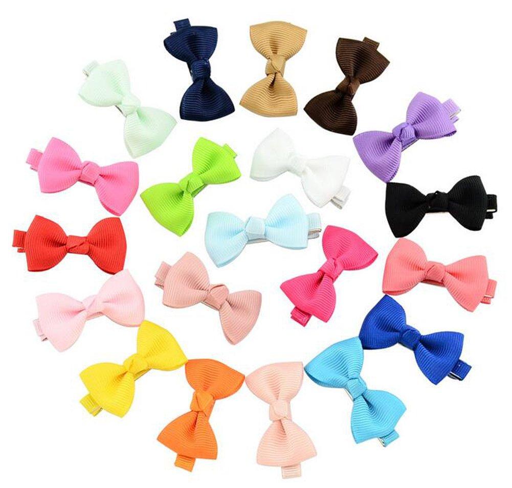 20Pcs cravattino piccoli fiocchi per capelli fermagli per capelli a coccodrillo mollette per bambine e bambini donne multicolore Durable no sfilacciamento scivoli erioctry