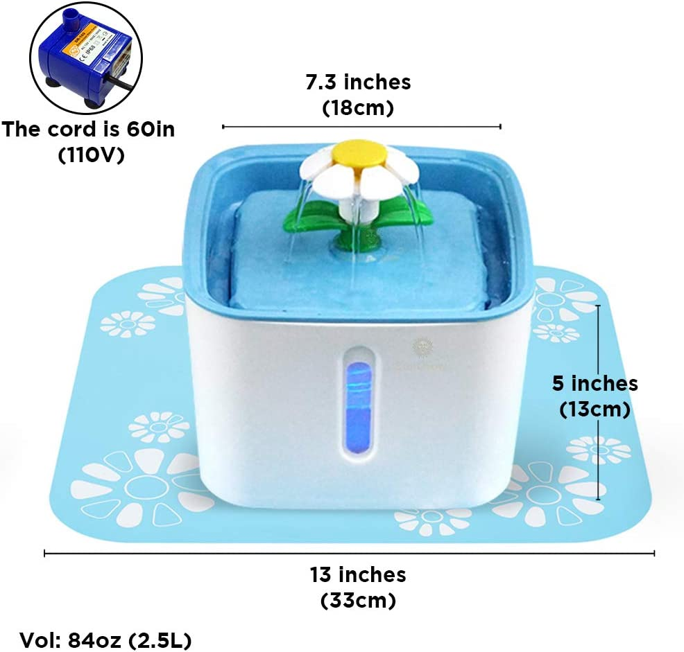 """Very Quiet Continuous Fresh Water SunGrow Pet Water Fountain with Adorable 13/"""" Easy to Assemble and Clean 84oz 33cm Vet Recommended 2.5 L Splash Mat 3 Filters Included Water Reservoir"""
