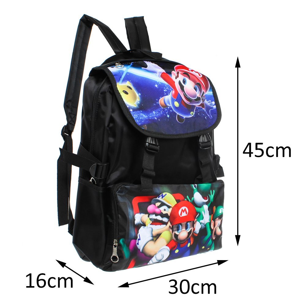 ASLNSONG Anime Backpack Super Mario Cartoon 18.8L School Bag Rucksack for Teens