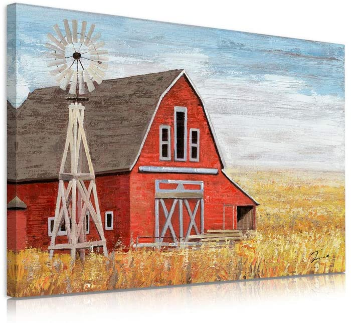 B BLINGBLING Red Barn Canvas Wall Art Prints with Windmill in Golden Wheat Field, Country Barn Pictures Wall Decor for Farmhouse Bathroom Decoration 12