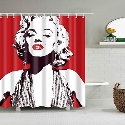 . Amazon com  Frank Home Shower Curtain Set with Hooks Marilyn Monroe