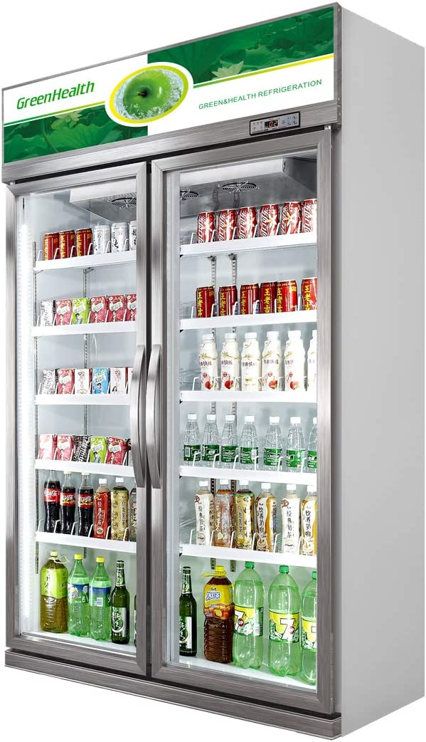Commercial Glass 2 Door Display Refrigerator Merchandiser Upright Beverage Cooler (Silver)