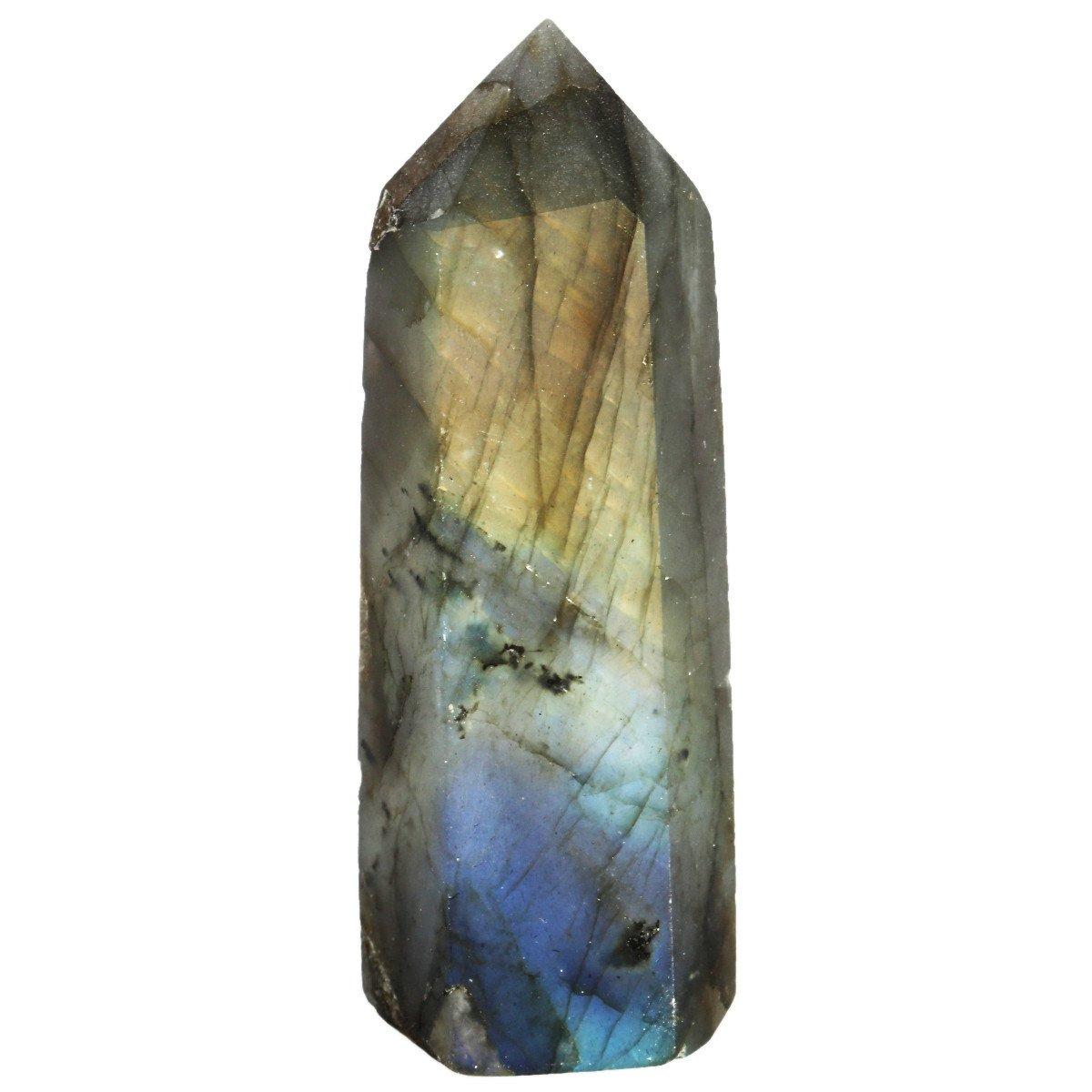 SUNYIK Labradorite Crystal Self Standing 6 Facet