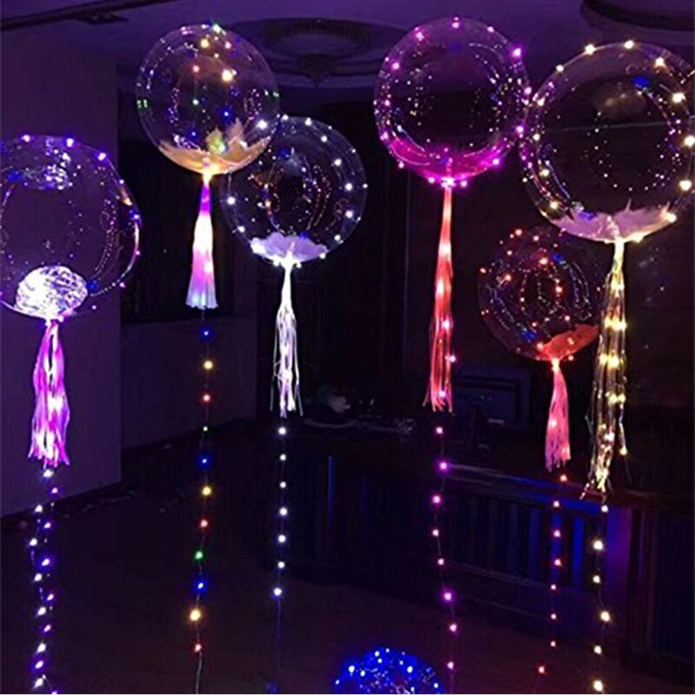 18'' LED Light Up Balloons,Colourful Flashing transparent clear balloons with Tissue Paper Tassels and Feathers,Ideal for Parties,Birthdays and Wedding Decorations, 5 Pack By QPEY