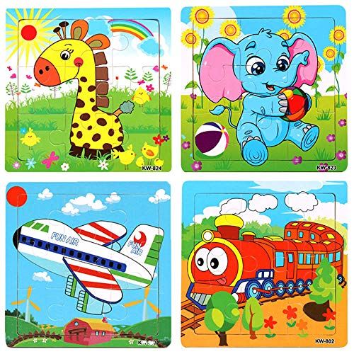 Wooden Jigsaw Puzzles Set for Kids Age 2-5 Year Old Preschool Animals Airplane Train Puzzles for Toddler Children Shape Color Learning Educational Puzzles Toys for Boys and Girls (4 Puzzles)