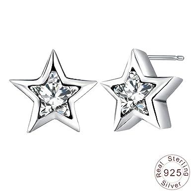 2bd67ff70519 AnaZoz Pendientes Estrella Plata de Ley 925 Pendientes Plata Estrella Pendientes  Plata Mujer Pendientes de Mujer  Amazon.es  Joyería