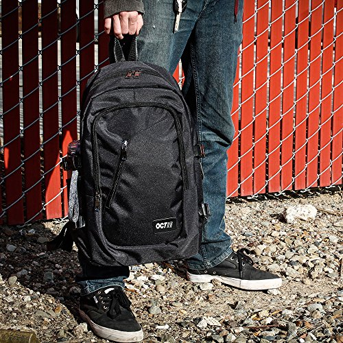 Oct17 Business Laptop Backpack, Slim Anti Theft Computer Bag, Water-resistent College School Backpack with Headphone Port, Eco-friendly Travel Shoulder Bag with USB Charging Port Fits UNDER 17 - Black by Oct17 (Image #7)