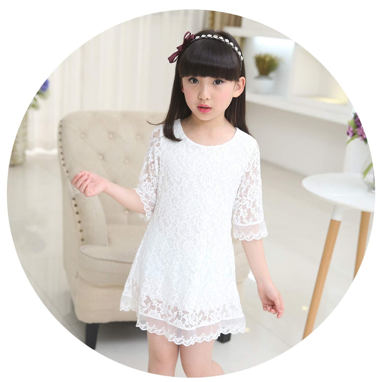 Kids 2018 Summer Autumn Lace Dress White Large Size Girls Dress Princess 3 4 6 8 10 12 14 16 18 Years Old Baby Girl,White,7