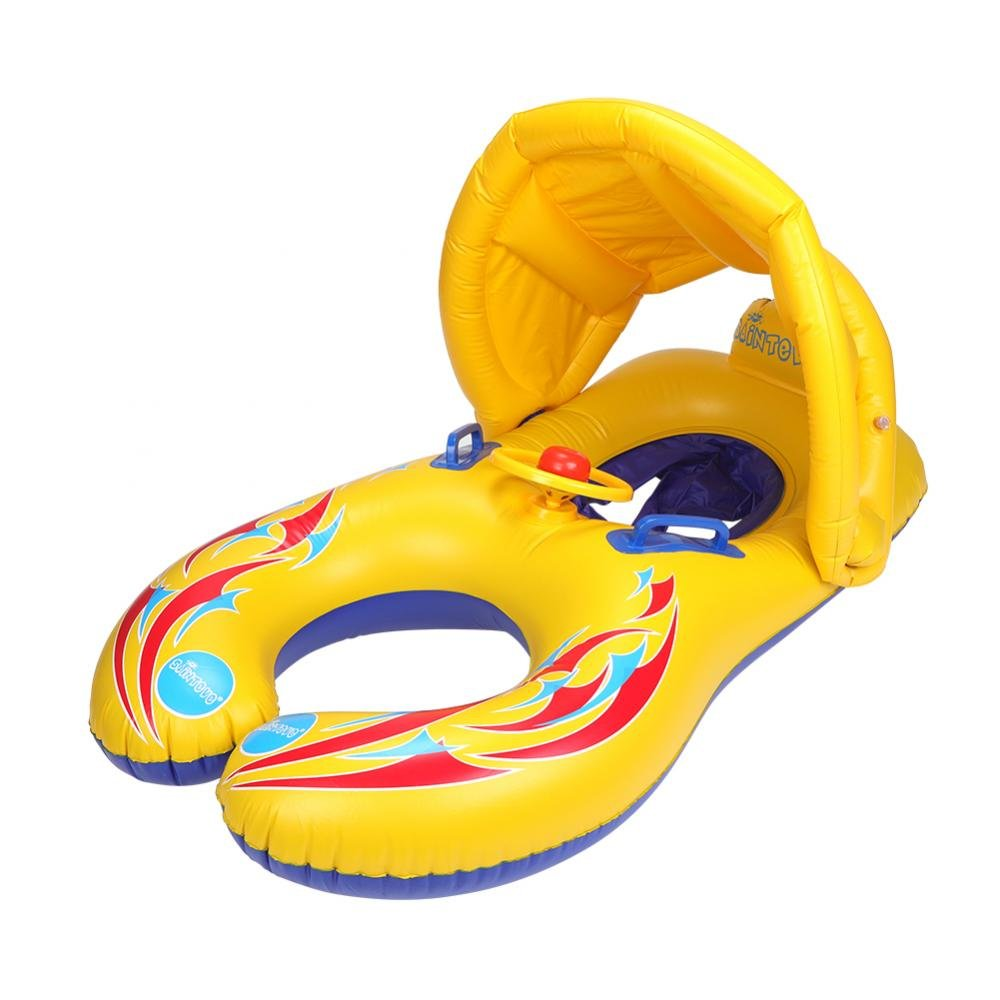VGEBY Baby Swimming Float, Sunshade Swimming Inflatable Boat Baby Pool Spring Float with Sun Canopy