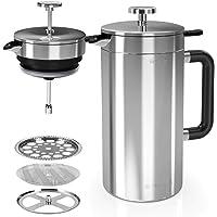 Navaris Fransk press i rostfritt stål – 1 liter isolerad kaffepress med dubbla väggar med 2 extra nätfilter – BPA-fri…