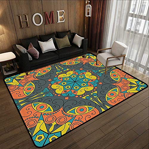 (Natural Fiber Area Rug,Classic Decor Collection,Abstract Medieval Style Geometric Gothic Tribal Art Symmetric Illustration Image,Grey Yellow 47