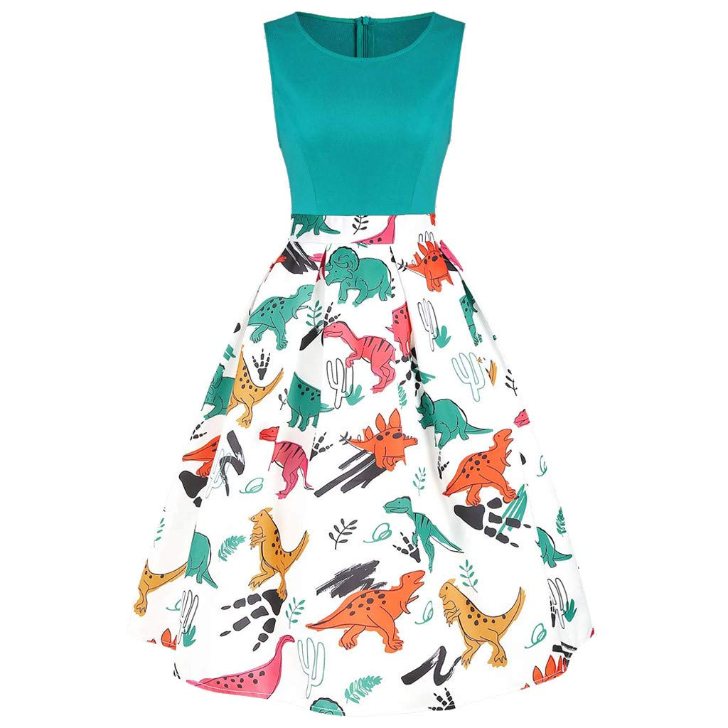 ℱLOVESOOℱ Women Dinosaur Printed Mini Dress Plus Size O-Neck Sleeveless Tunic Tank Dress Ladies Vintage Casual Swing Dress Green by ℱLOVESOOℱ
