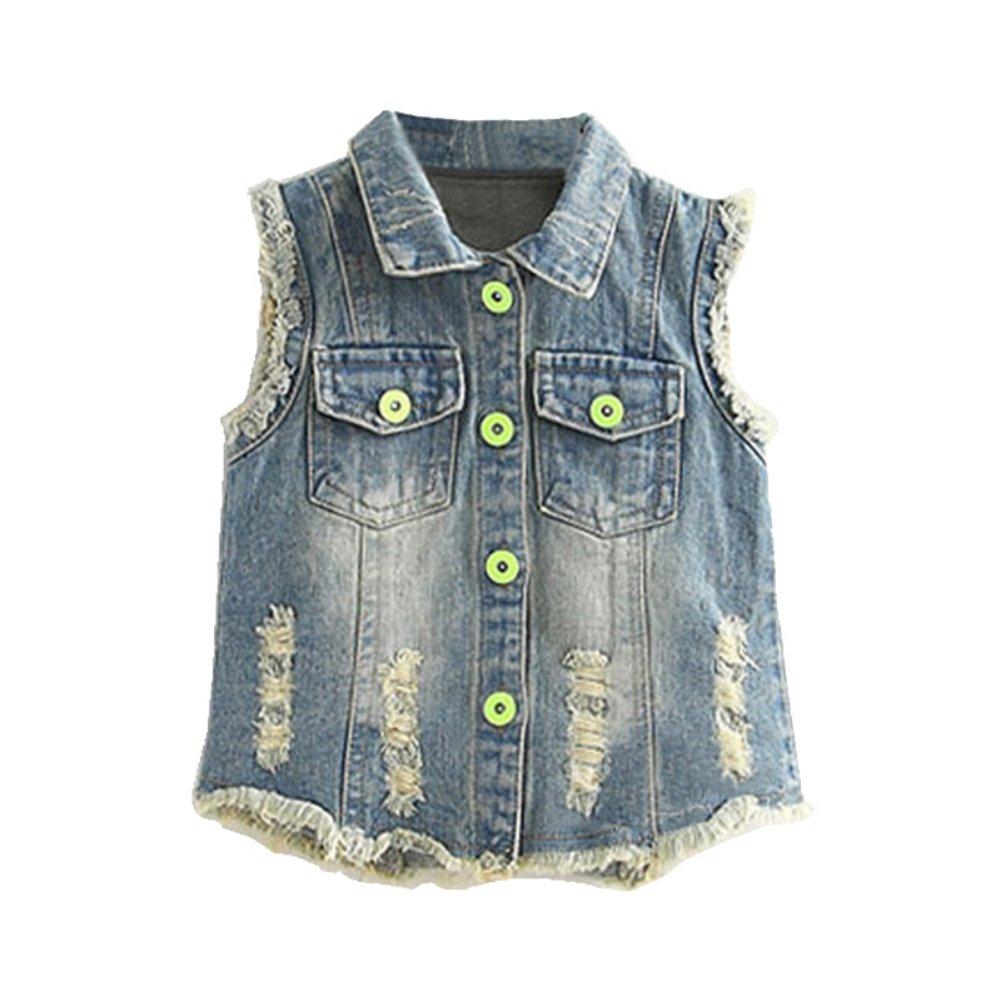 Mud Kingdom Girls' Sequin Butterfly Denim Vest Button-down SS0356