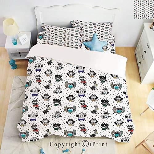 Homenon Bedding 4 Piece Sheet Set,deep Pocket Fitted Sheet,Flat Sheet,2 Pillow Cases,Animal Owl Dear Fox Cat Penguin Raccoon Bear in Superhero Costumes Print,White Seal Brown,Twin Size]()