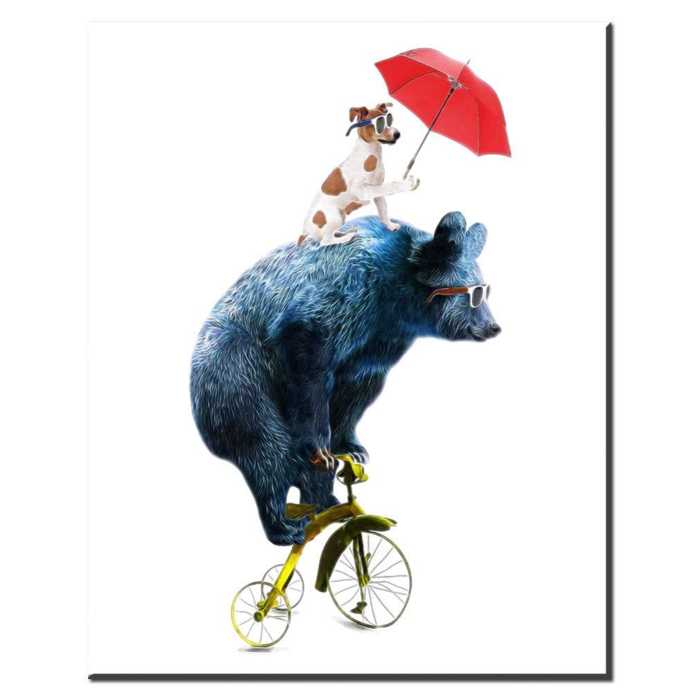 GUDOJK Pittura murale Nordic Animali Adorabili Orso Cane Equitazione Bici Quadri su Tela Stampa Poster Immagini per pareti Immagini per camerette Decorazioni per la casa-50x70cm