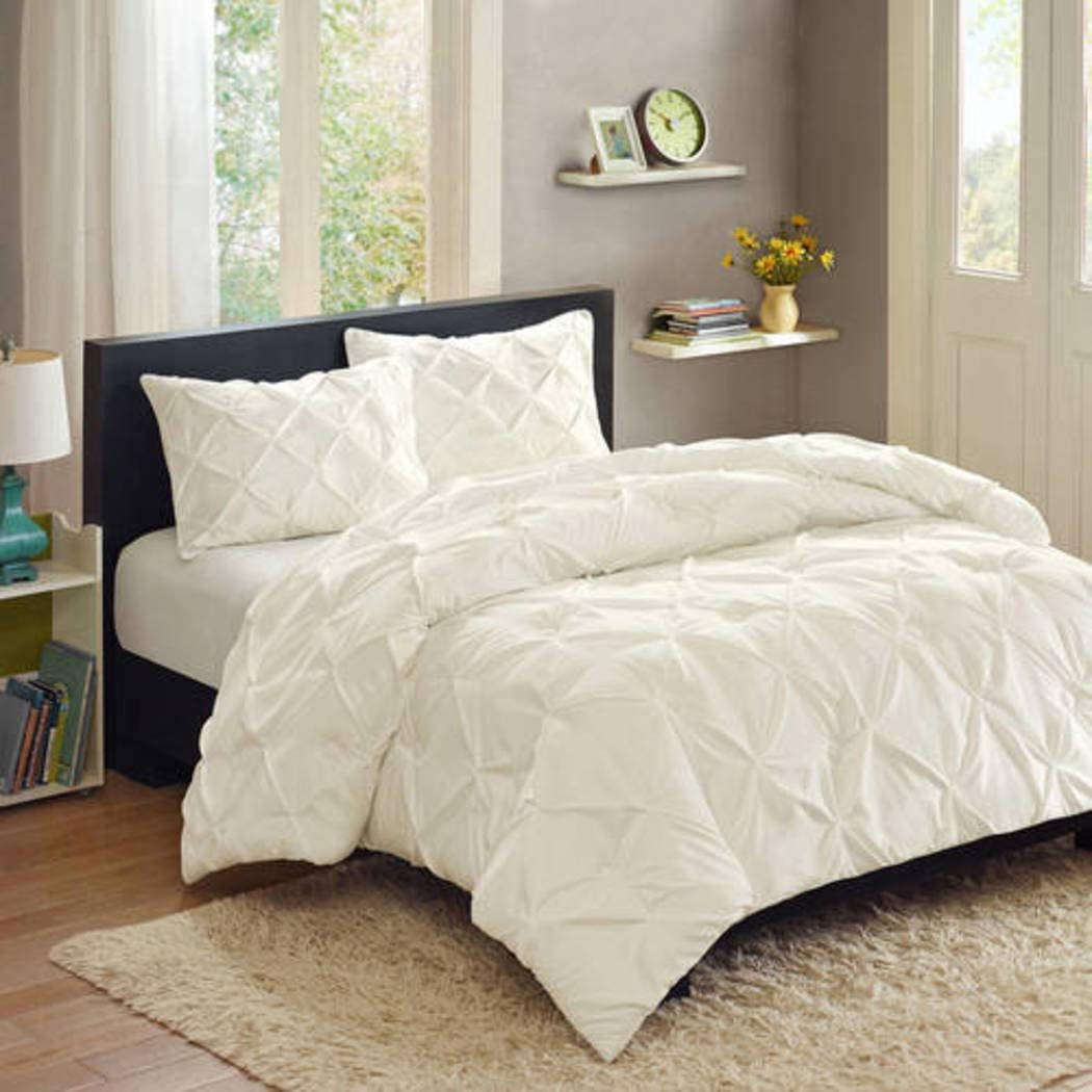 Better Homes and Gardens Pintuck 3-Piece Bedding Comforter Mini Set, White - FULL/QUEEN by Better Homes and Gardens