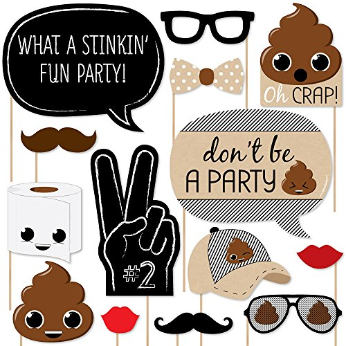 Big Dot of Happiness Party 'Til You're Pooped - Poop Emoji Party Photo Booth Props Kit - 20 -