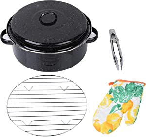 Barbecue Pan Iron Sweet Potatoes Roasted Bread Easy to Clean BBQ Grill with Built-in Steamer Rack Black