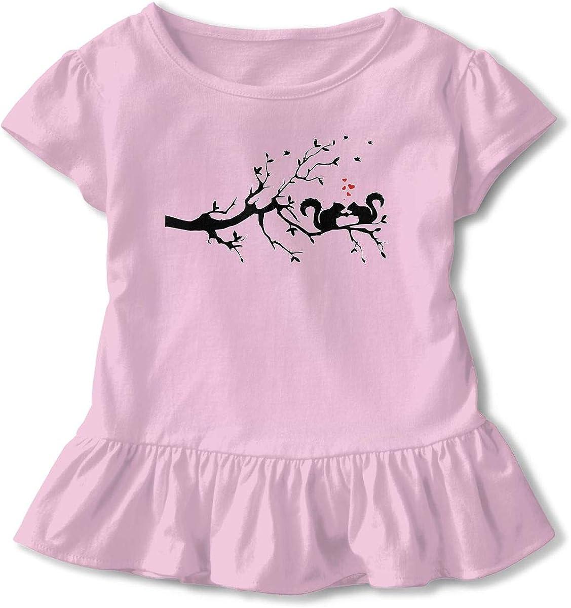 Squirrel Love Baby Skirts Cute Kids T Shirt Dress Cotton Flounces Costume