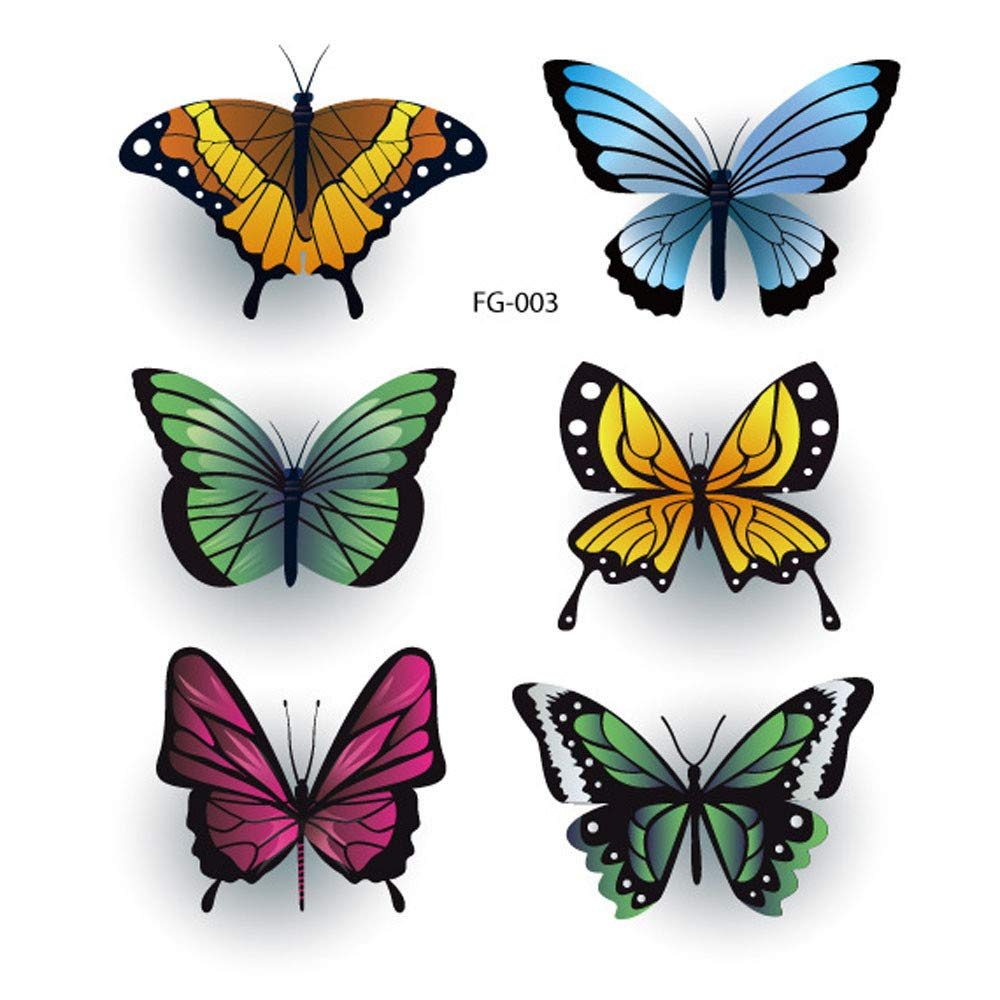 Women Temporary Tattoos Mixed Style Flowers Butterflies and Multi-Colored Waterproof Tattoo for Women Girls or Kids Fake Tattoos Flower Sticker for Arm Shoulders Waist Chest & Back (G)