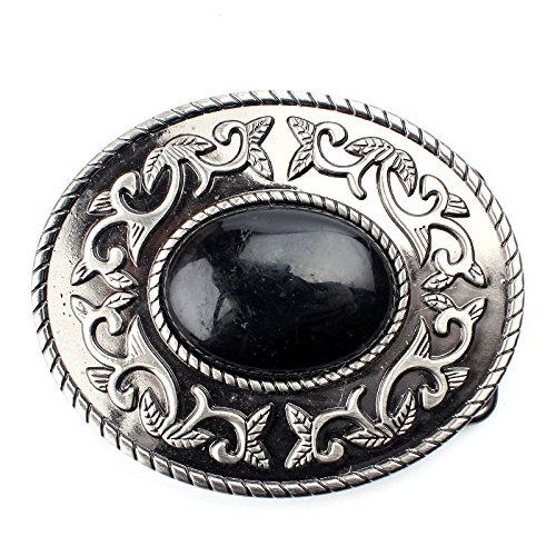 Oval Arabesque Flower Pattern Black Turquoise Woman Belt Buckle Fashion Design