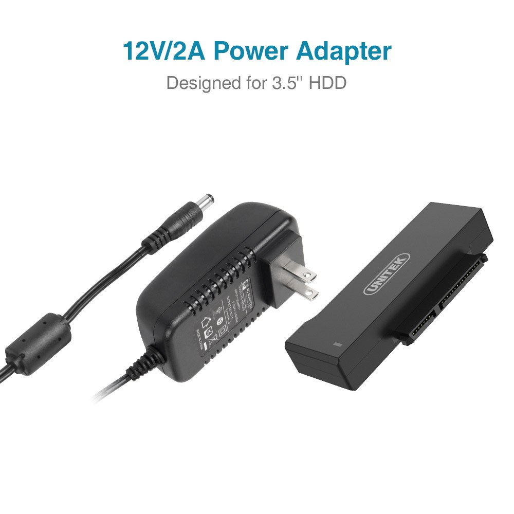 Unitek USB to SATA Adapter, USB 3.0 to SATA III Adapter Cable universal 2.5/3.5 HDD/SSD Hard Drive Disk SATA Optical Drive, Include 12V/2A Power Adapter - [Upgraded Version] by Unitek (Image #4)