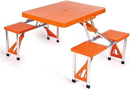 Juego de mesa y silla portátil para exteriores, balcón, jardín, camping, playa, mesa plegable, escritorio para ordenador, Naranja, L*W*H: 134*85*67cm: Amazon.es: Hogar